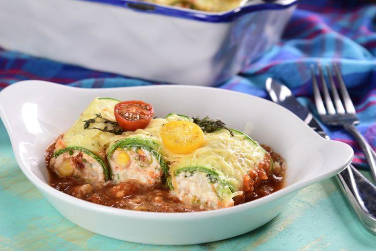 Rollitos de calabaza con queso ricotta. Una receta para cenar o desayunar ligero cuando estés a dieta.