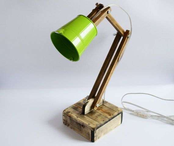 Adjustable lamp Wooden lamp Reading lamp Lampe Green shade lamp Schreibtischlampe