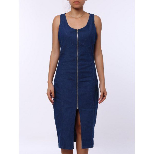Sexy U-Neck Sleeveless Zip Up Bodycon Women's Denim Dress #shoes, #jewelry, #women, #men, #hats, #watches, #belts