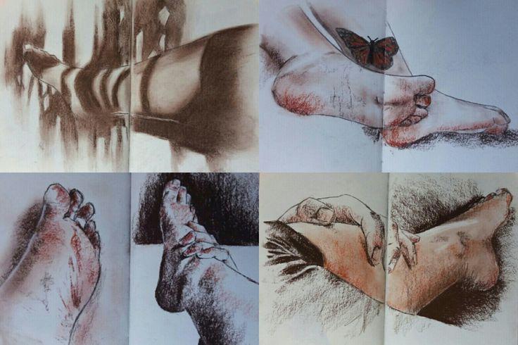 Pies y manos sanguina y carboncillo