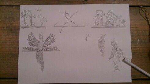 Dit zijn mijn ontwerpen die ik heb bedacht. Ik heb gekozen voor het ontwerp met de vogel en het afval dat op het boek ligt omdat ik met dit ontwerp meer met vormgeving kan doen en het sluit meeraan bij mijn ontwerp: Milieu