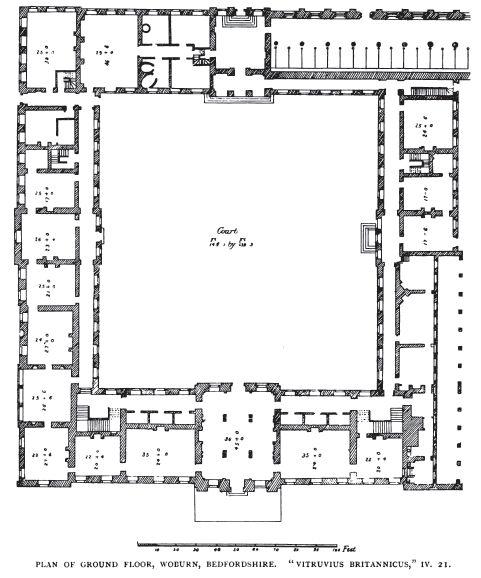 Woburn Plan From Vitruvius Britannicus English