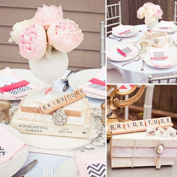 Vintage Bridal Shower=love: Books, Wedding Shower, Bridal Shower Ideas, Breakfast Buffet, Scrabble Tile, Vintage Bridal, Bride, Peonies, Scrabble Letters