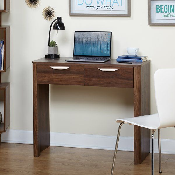 The Derwood Writing Desk Combines The Natural Warmth Of A Walnut Finish  Laminate With Brush Gold Finished Drawer Handles. Two Storage Drawers  Provide Ample ...