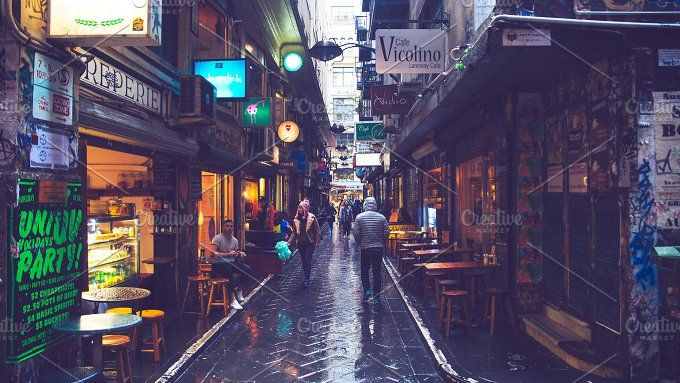 Melbourne Lane Way and Shops by HBStocks on @creativemarket