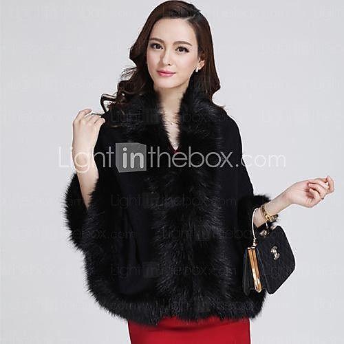 sueltos capa abrigo suéter de la rebeca de las mujeres de imitación de la capa capa de piel 2017 - $34.99
