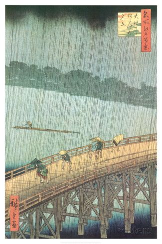 Sudden Shower Over Ohashi Bridge and Atake Posters by Ando Hiroshige at AllPosters.com