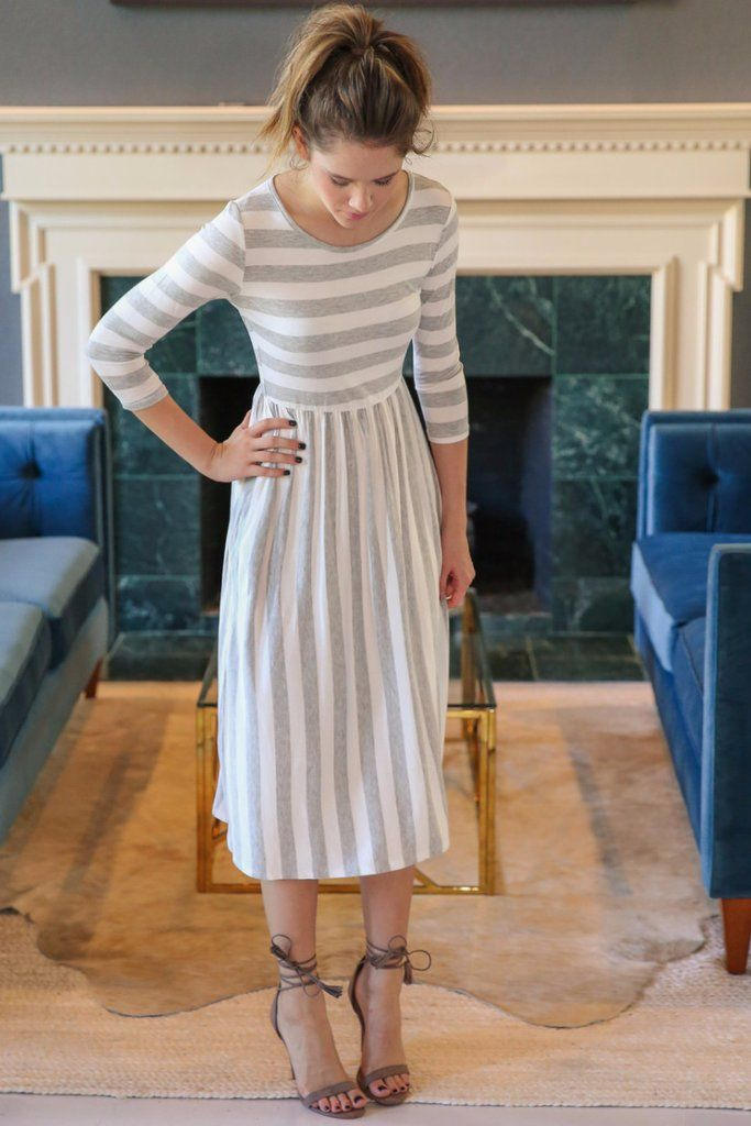 Grey Stripe Midi Dress – Hazel & Olive