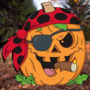 "Pirate Jack-O-Lantern Pattern.  Halloween yard cutout. 23""H x 24""W  Pattern #2426  $8.95  ( crafting, crafts, woodcraft, pattern, woodworking, yard art, halloween ) Pattern by Sherwood Creations"