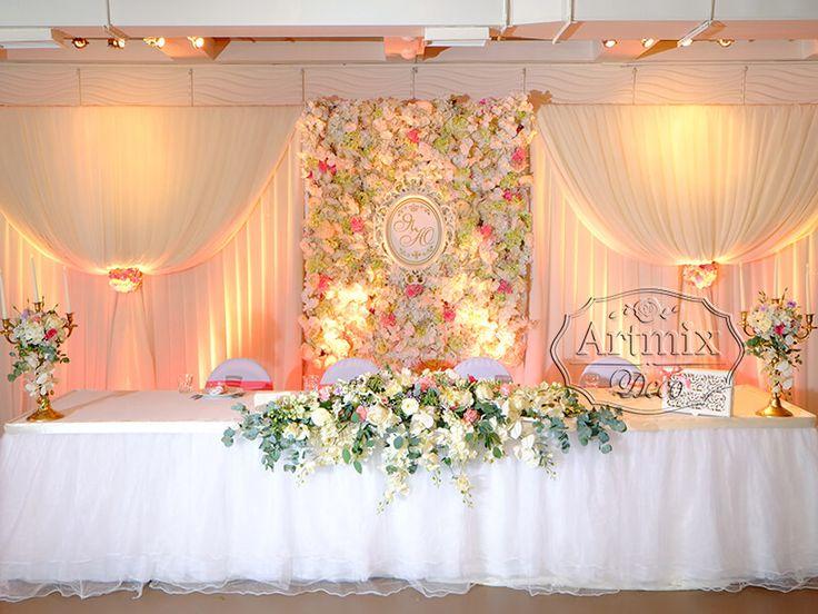 Оформление президиума на свадьбе в банкетном ресторане Море