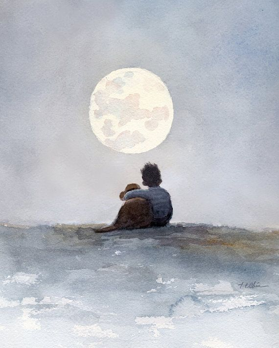 A Boy And His Dog Friend Art Print Of Watercolor Painting Child Childhood Friend Friendship Moon Boy S Room Watercolor Images Original Watercolor Painting Watercolor Dog