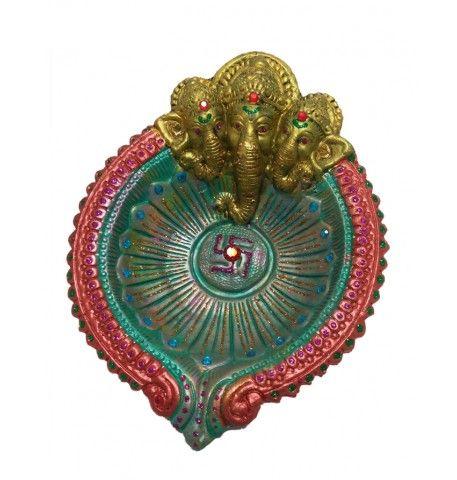 Exclusive Designer Multicolored Ganesh Diwali Diya