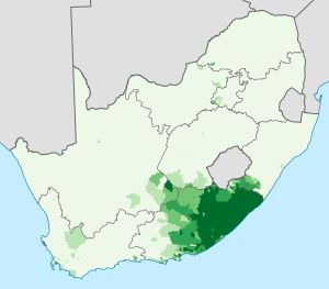 Proportion of the South African population that speaks Xhosa at home. The Xhosa language (English /ˈkɔːsə/ or /ˈkoʊsə/; Xhosa: isiXhosa [isikǁʰɔ́ːsa]) is one of the official languages of South Africa. Xhosa is spoken by approximately 7.6 million people, or about 18% of the South African population. Like most Bantu languages, Xhosa is a tonal language, that is, the same sequence of consonants and vowels can have different meanings when said with a rising or falling or high or low intonation