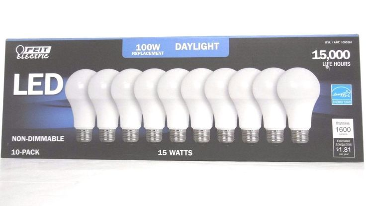 100 WATT BULBS LED 10 PACK FEIT REPLACEMENT BULBS 1500 LUMENS USES ONLY 15 WATTS #FEITELECTRIC