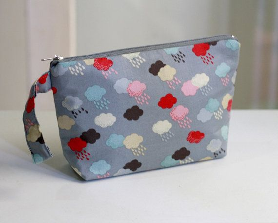 Cloud and Rain Zippered pouch, Grey cosmetic pouch / make up pouch