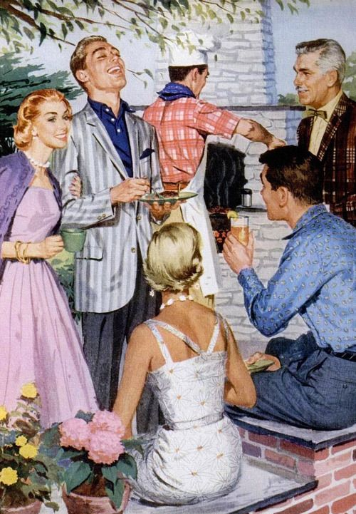 The vintage neighborhood barbecue 50s fashion style men women ladies color illustration print ad magazine pink dress full skirt lavender sweater white sundress wiggle sheath men's jacket shirt pant trouser