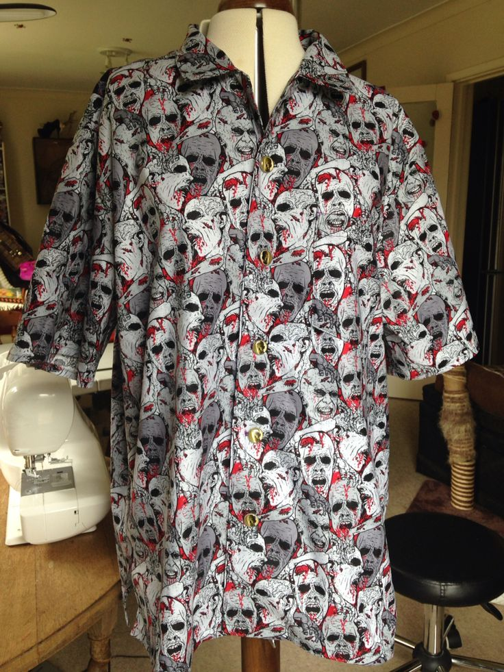 Severed head zombie men's bowling shirt I've just finished!