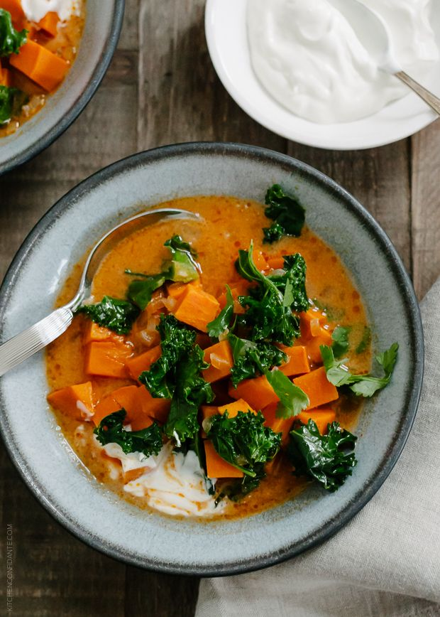 Sweet Potato and Kale Coconut Curry Soup | www.kitchenconfidante.com  A hearty, healthy soup, perfect for rainy days.