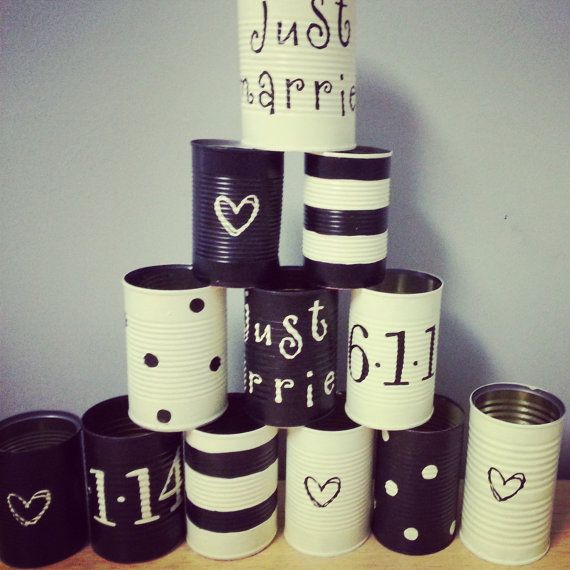 Wedding Car Just Married Tin Cans by FrecklesandWhiskers on Etsy, $30.00