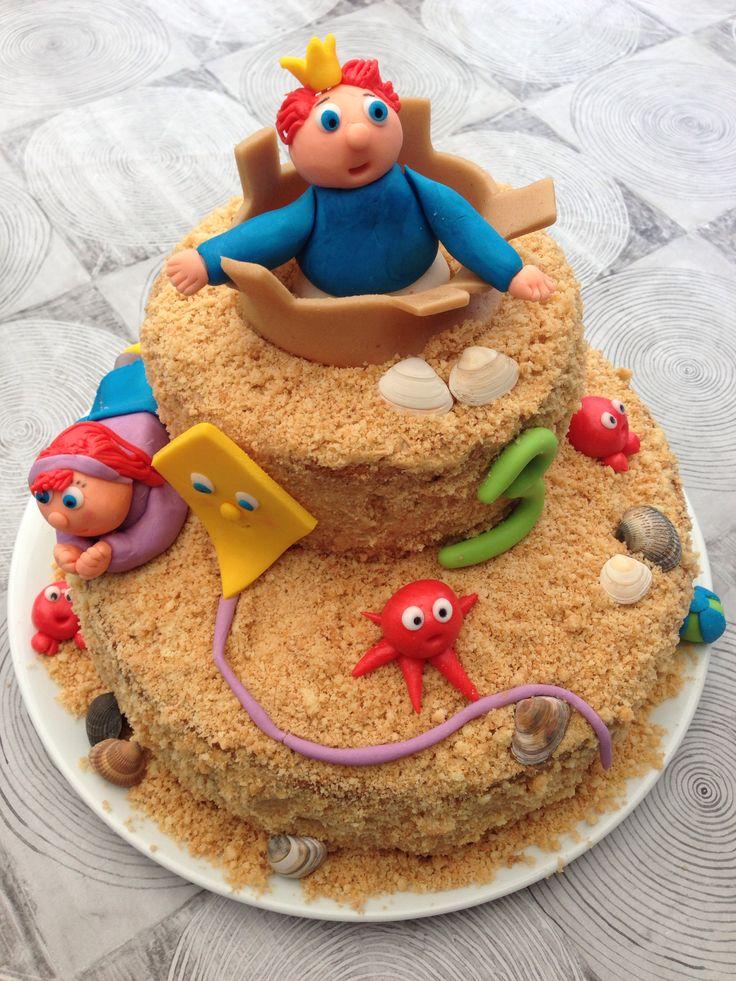 Zandkasteel aan zee taart