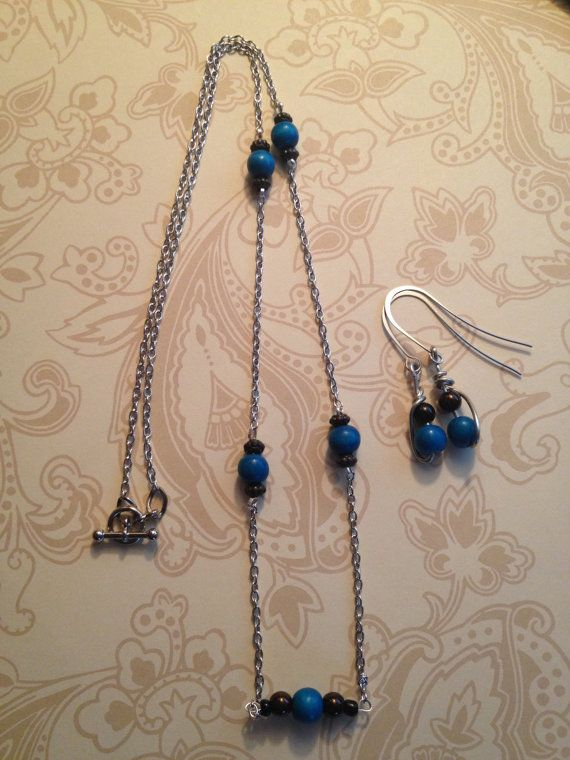 20% OFF SALE On untIll JAN 2 Blue and Metallic Brown Beaded Necklace and Earring Set on Etsy, $16.65 CAD