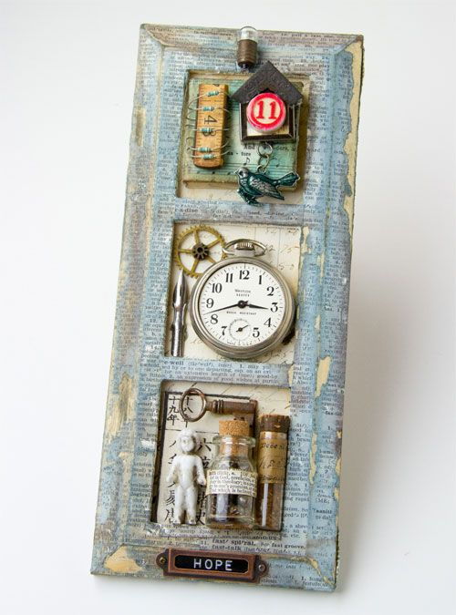 Tim Holtz - inspiration to take an old window or distress collage frame and then frame keepsakes