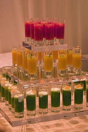 Soup shooters.  Trio of Cold Soup Shooters Spicy Tomato, Chilled Green Gazpacho, Creamy Celery
