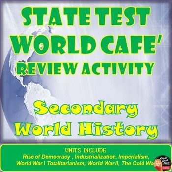 This activity is to help prepare your secondary World. History students for the upcoming state test. Students will feel as if they are in a café' or coffee house meeting with a group of friends. Students will meet in groups and discuss the essential questions related to the units studied in secondary World History class. They can use their interactive notebooks to help them review the information. The group leader will get directions to lead the discussion.