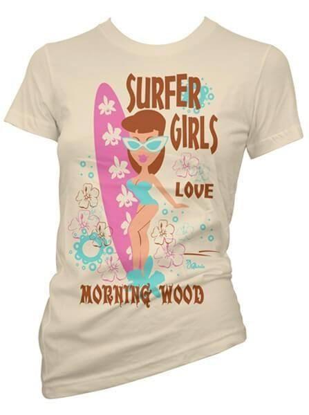"Women's ""Surfer Girls Love Morning Wood"" Tee by Pinky Star (Tan)"