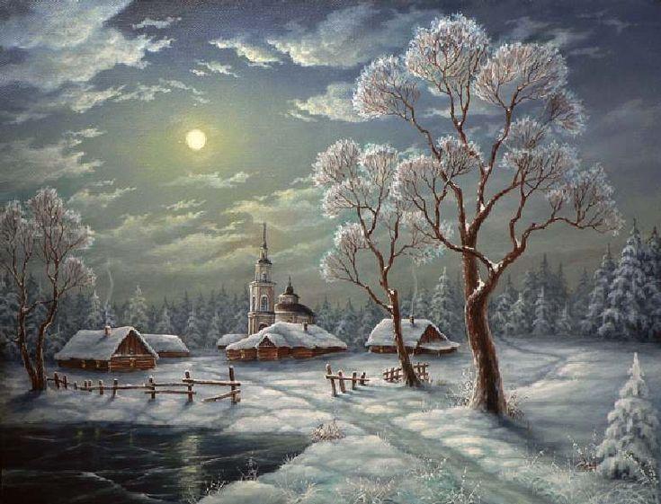 Зима_домики_ночь_деревня