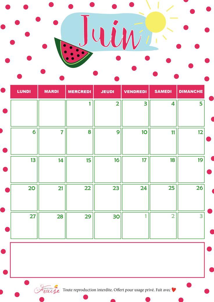 Le rendez-vous régulier sur le blog Sirop de Fraise : le calendrier du mois à venir. Retrouvez aujourd'hui celui de Juin 2016, avec des pastèques et du soleil.