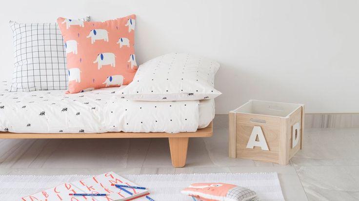Lookbook Juego funda nórdica + funda de almohada Black Plants. Kids Room deco. Habitaciones infantiles de estilo nórdico.