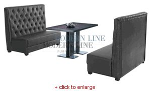 "Contemporary Black Dining Table Set with Two Black Leather Benches  listed as : you pay $1,495.95 Table 51""	x31.5""x30"" / Bench	60""x21""x48"" / part of a modular collection with corner seats etc."