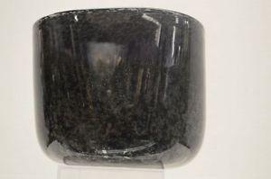 Vintage-Hadeland-Black-Glass-Vase-with-Internal-Bubbles
