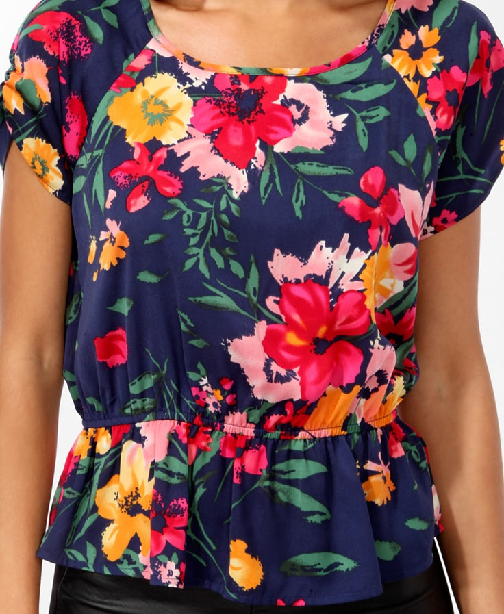 bold floral print blouson top--$15.80--forever 21