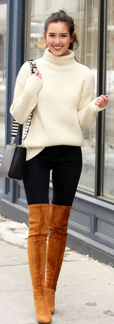 How to pair brown, black, and white together. These over the knee (OTK) brown boots are flattering and affordable. This white turtleneck sweater is warm and stylish. And these black jeans are high waisted less than $60. By Marie's Bazaar fashion blog