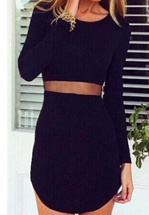 Sexy Scoop Neck Asymmetrical See-Through Dress