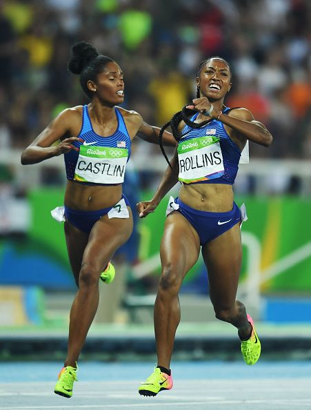 Bronze medalist Kristi Castlin of the United States and gold medalist Brianna…