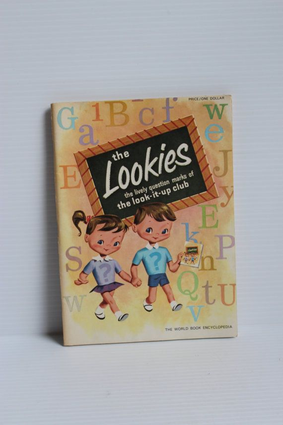 WORLD BOOK ENCYCLOPEDIA Children's book, Lookies children's workbook, Vintage workbook for children, Look it Up Club book, paper ephemera