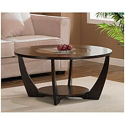 @Overstock - A stylish tempered glass insert and rich espresso finish highlight this Archer coffee table. This table features non-mar foot glides and a storage shelf.http://www.overstock.com/Home-Garden/Archer-Espresso-Coffee-Table-with-Shelf/5230237/product.html?CID=214117 $205.99
