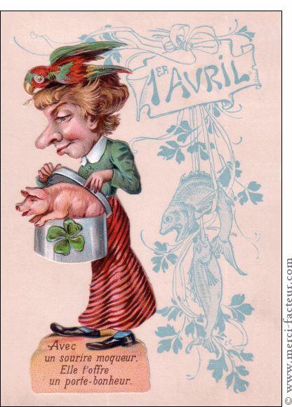 Joyeux 1er avril ! Profitez du 1er avril pour faire des farces à vos amis émoticône smile http://www.merci-facteur.com/cartes/rub32-1er-avril.html #poissondavril #1eravril #humour Carte Le cochon porte bonheur pour envoyer par La Poste, sur Merci-Facteur !