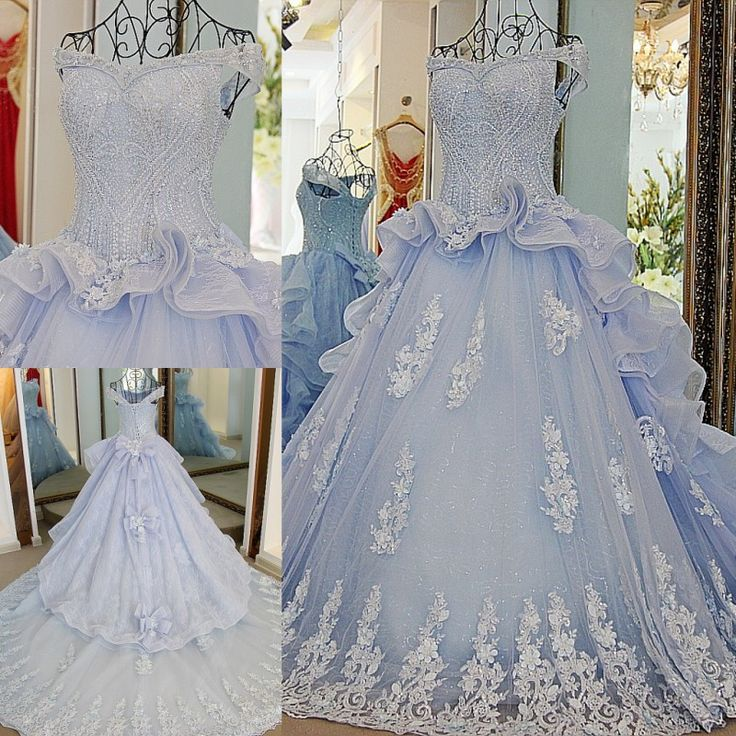 AHS067 New Arrival Off-Shoulder Blue Tulle Train Prom Dresses with Appliques 2017