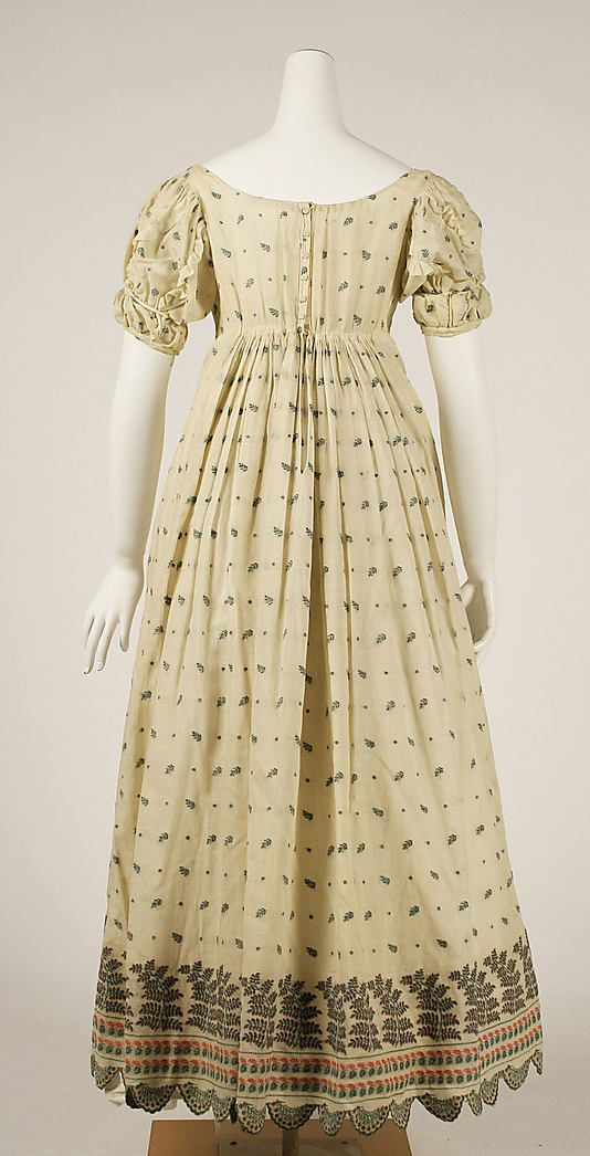 Dress Date: 1806–10 Culture: French Medium: cotton Dimensions: Length at CB: 43 in. (109.2 cm)