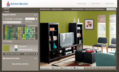 sherwin-williams colour visualizer.  A fun website/application to test out what your room would look like in different paint colours. Great to use before you paint.