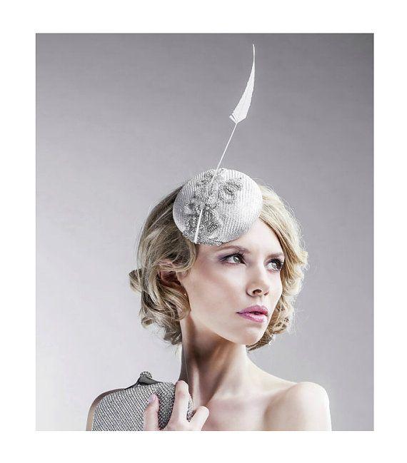 Silver Grey Headpiece Medium Size Straw от EllaGajewskaHATS