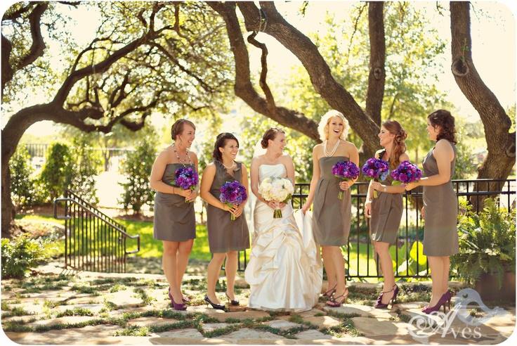 Grey bridesmaid dresses with purple flowers and shoes @Lauren Davison Wegmann