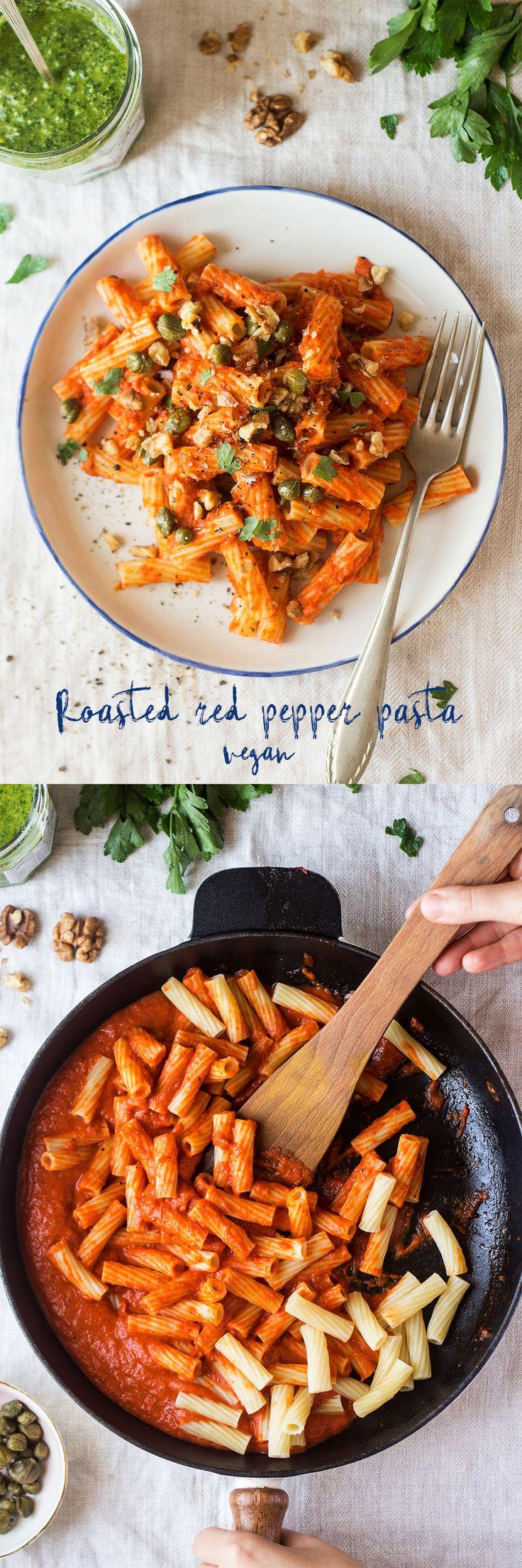 #pasta #redpepper #vegan #easy #healthy #greek #italian #lunch #dinner