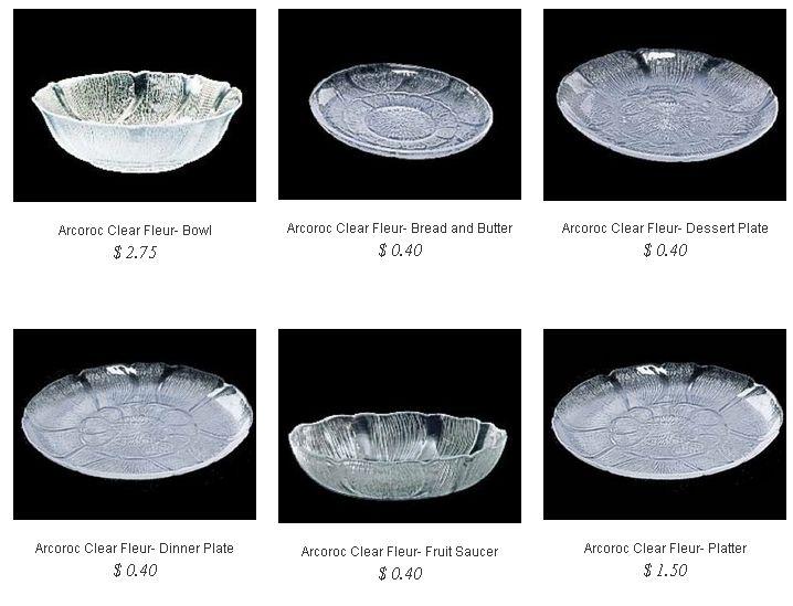 Arcoroc- Clear Fleur @ http://partyrentalcity.com/collections/arcoroc-clear-fleur