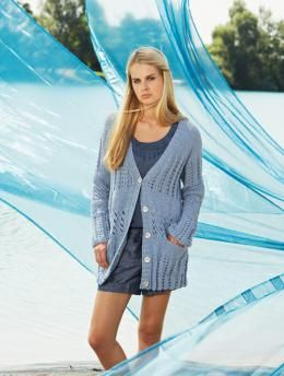 Free Pattern, Ladies' Long Jacket - This lightweigt long jacket is a great companion for the summer. The cute pattern and deep pockts make it an easy match for jeans or a summer dress.