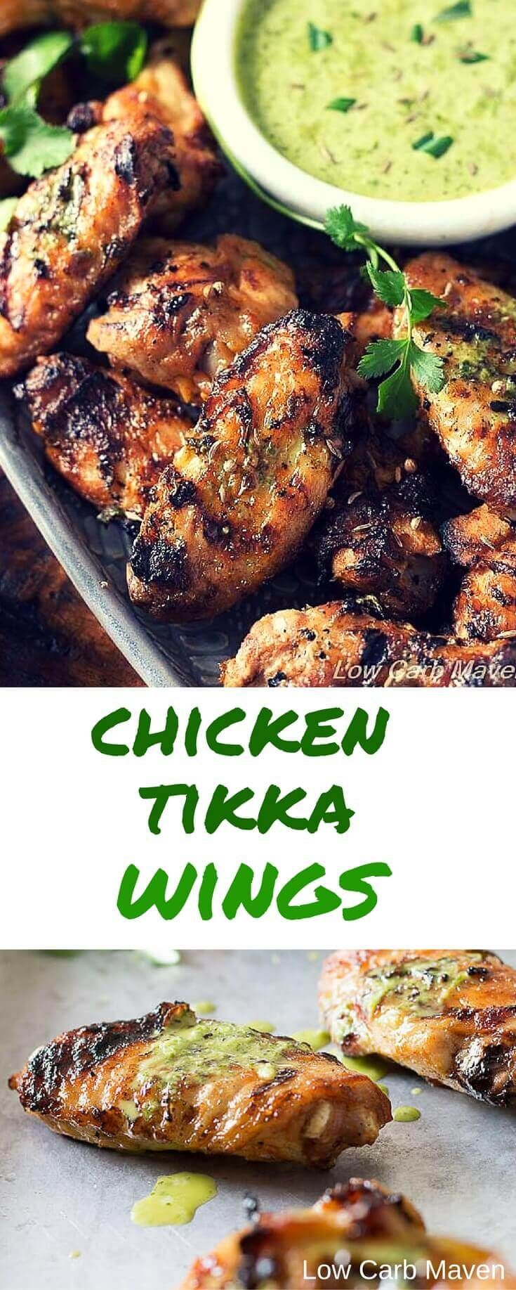 Homemade Indian Tikka Chicken Wings marinated in coconut milk & Indian spices, cooked on the grill and then served with a bright citrus-cilantro sauce.